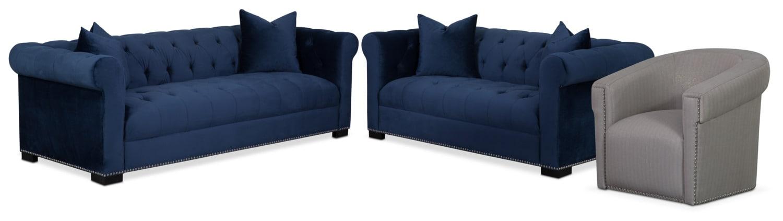 Couture Sofa, Apartment Sofa and Swivel Chair Set - Indigo