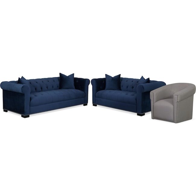 Living Room Furniture - Couture Sofa, Apartment Sofa and Swivel Chair Set - Indigo