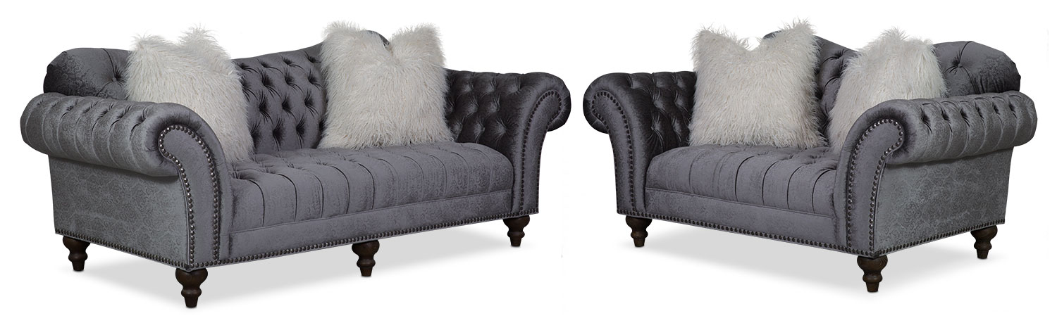 Living Room Furniture - Brittney Sofa and Loveseat Set - Charcoal