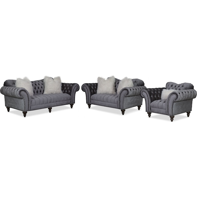 Living Room Furniture - Brittney Sofa, Loveseat and Chair Set - Charcoal