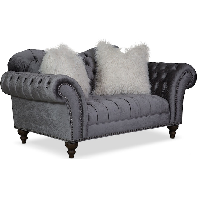 Living Room Furniture - Brittney Loveseat - Charcoal