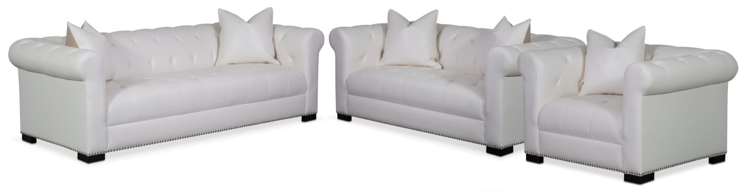 Couture Sofa, Apartment Sofa and Chair Set - White