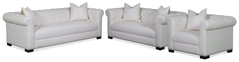 Living Room Furniture - Couture Sofa, Apartment Sofa and Chair Set - White