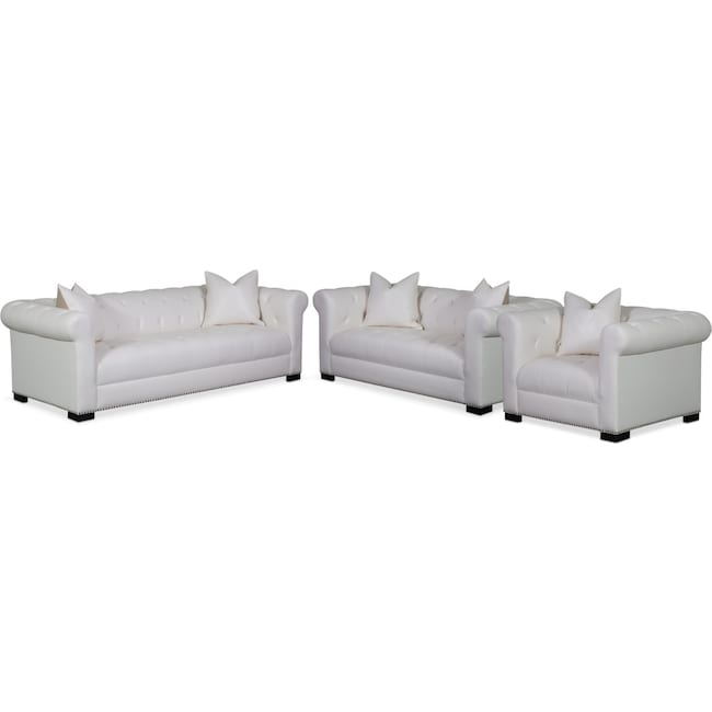 Living Room Furniture - Couture Sofa, Apartment Sofa and Chair Set - White