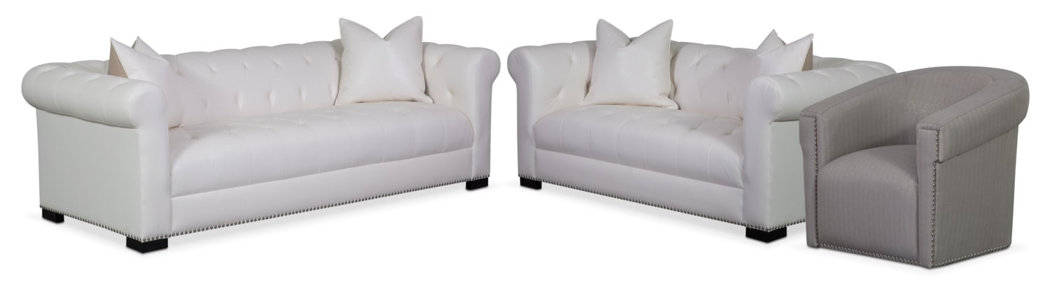 Couture Sofa, Apartment Sofa and Swivel Chair Set - White