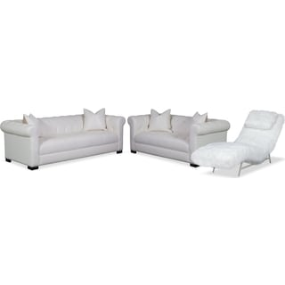 Couture Sofa, Apartment Sofa and Chaise Set - White