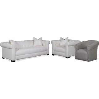 Couture Sofa, Chair and Swivel Chair Set - White