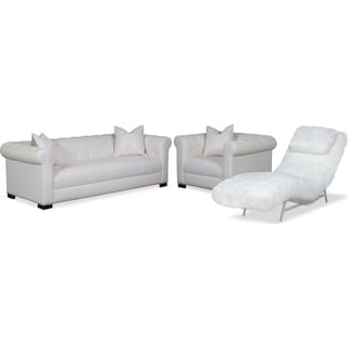Couture Sofa, Chaise and Chair Set - White