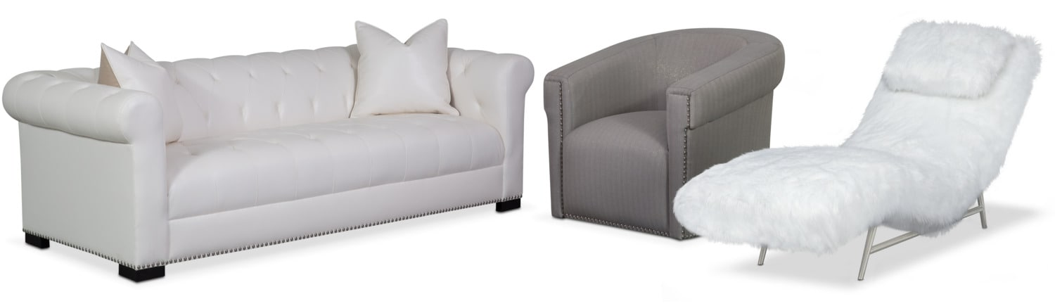 Couture Sofa, Chaise and Swivel Chair Set - White