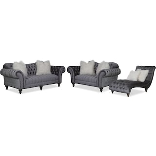 Brittney Sofa, Loveseat and Chaise Set - Charcoal