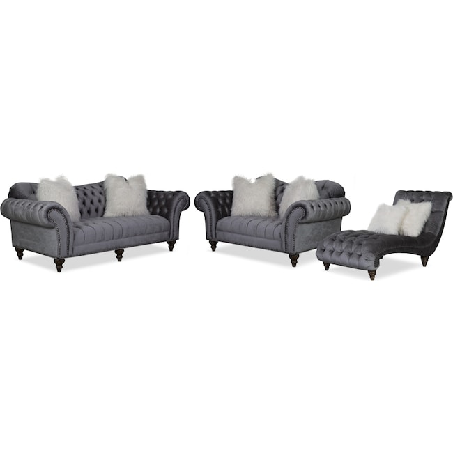 Living Room Furniture - Brittney Sofa, Loveseat and Chaise Set - Charcoal