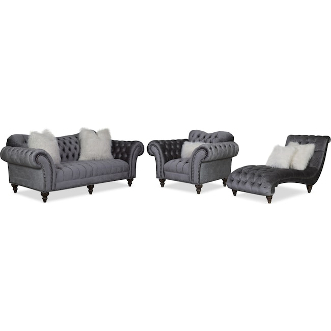 Living Room Furniture - Brittney Sofa, Chair and Chaise Set - Charcoal