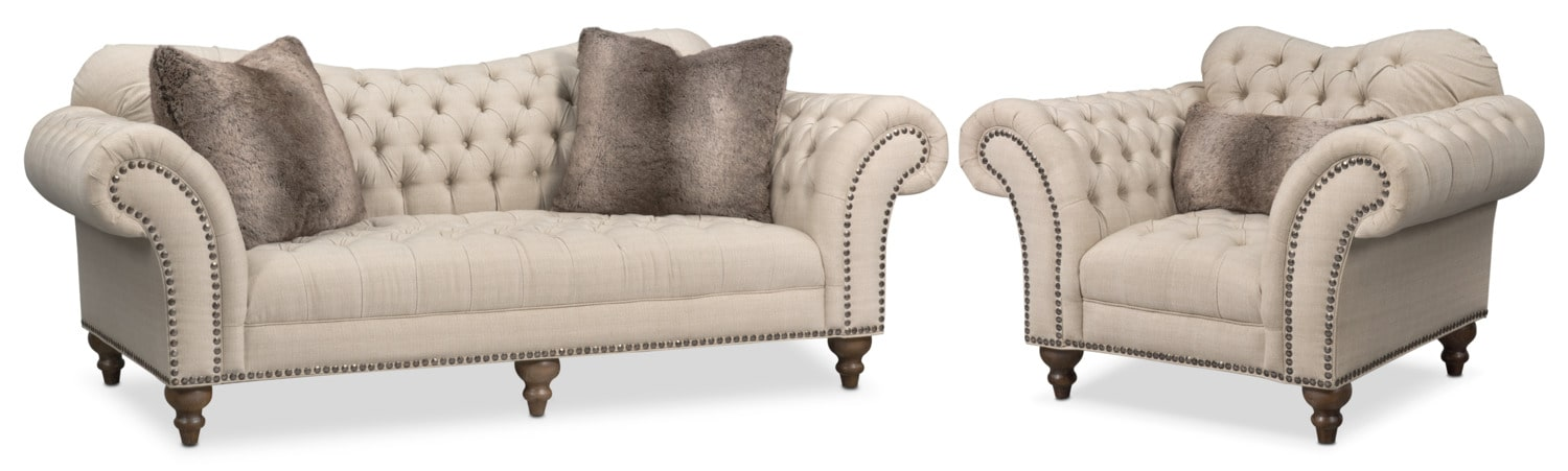 Living Room Furniture - Brittney Sofa and Chair Set - Linen