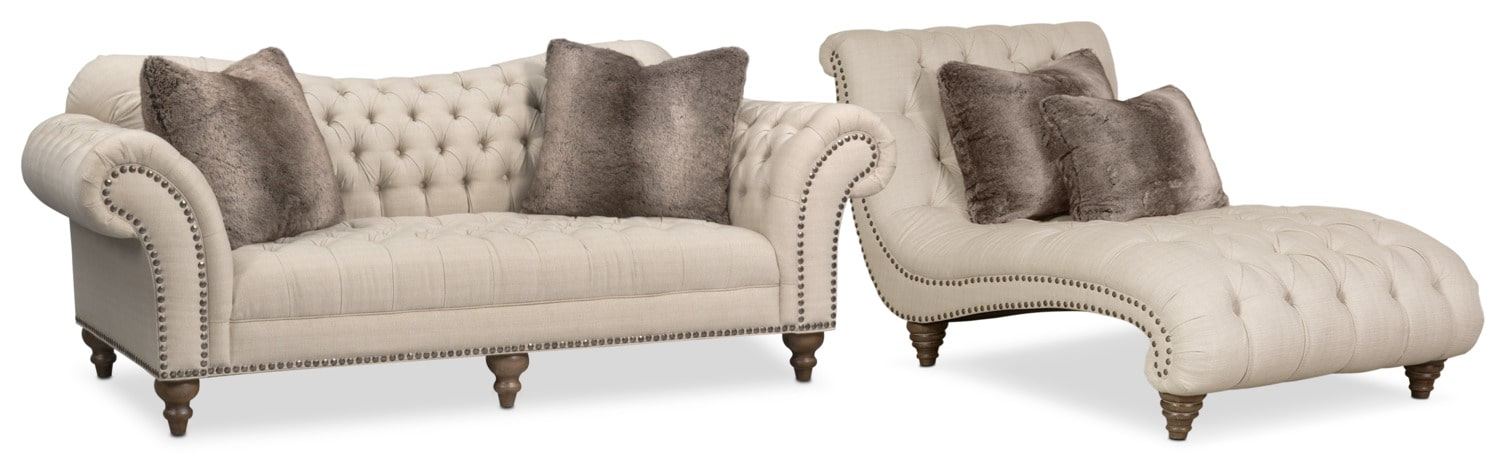 Living Room Furniture - Brittney Sofa and Chaise Set - Linen