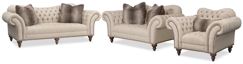 Brittney Sofa, Loveseat and Chair Set - Linen