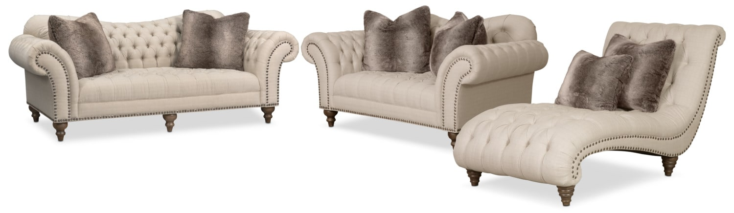 Living Room Furniture - Brittney Sofa, Loveseat and Chaise Set - Linen