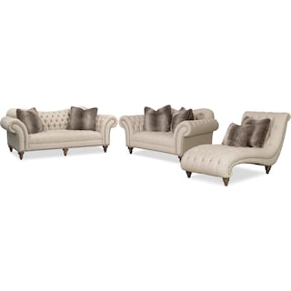 Brittney Sofa, Loveseat and Chaise Set - Linen
