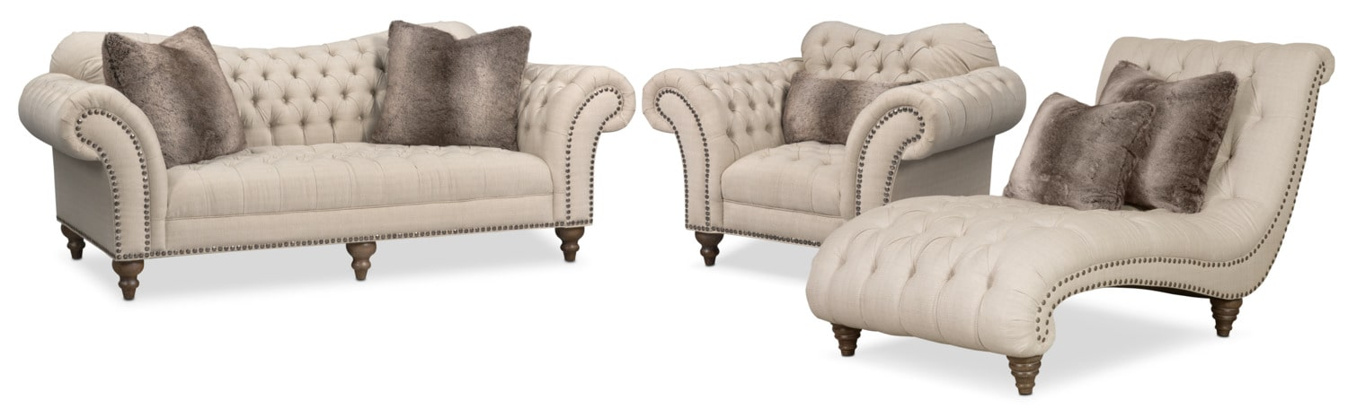 Brittney Sofa, Chaise and Chair Set - Linen