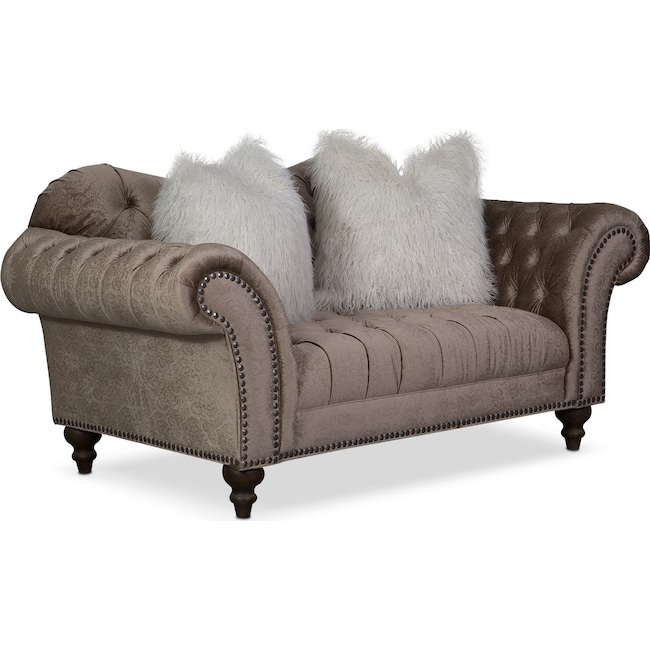 Living Room Furniture - Brittney Loveseat - Champagne