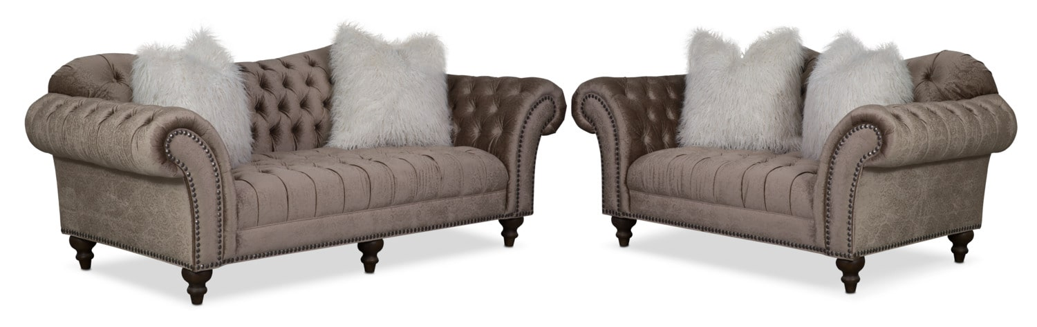 Living Room Furniture - Brittney Sofa and Loveseat Set - Champagne