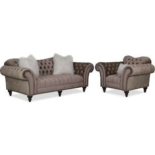Brittney Sofa and Chair Set - Champagne