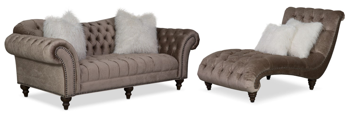 Living Room Furniture - Brittney Sofa and Chaise Set - Champagne
