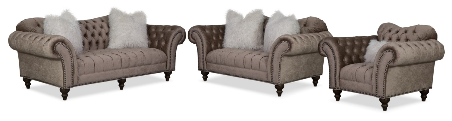 brittney sofa loveseat and chair set champagne
