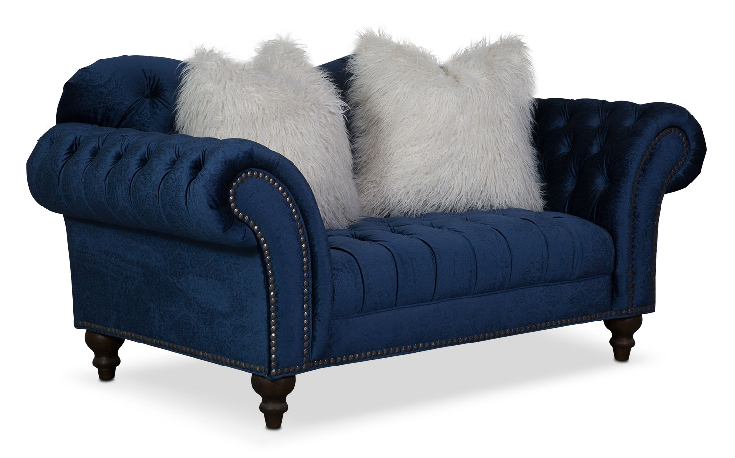 Living Room Furniture - Brittney Loveseat - Navy