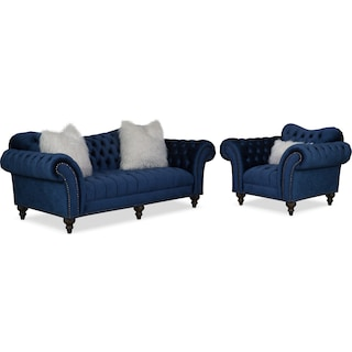Brittney Sofa and Chair Set - Navy