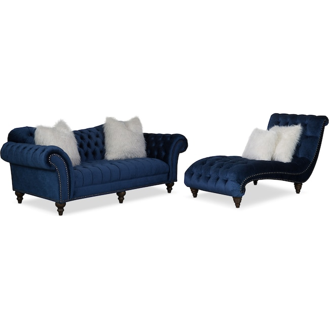 Living Room Furniture - Brittney Sofa and Chaise Set - Navy