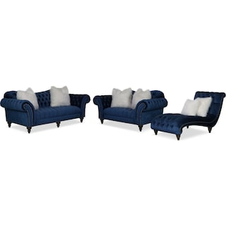 Brittney Sofa, Loveseat and Chaise Set - Navy