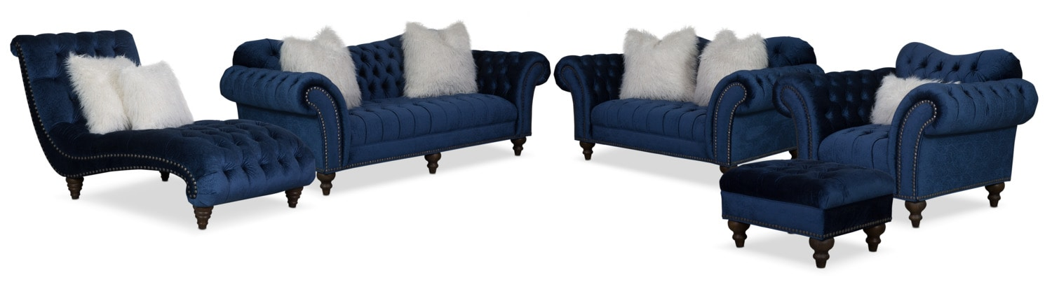 Marvelous The Brittney Living Room Collection   Navy Part 31