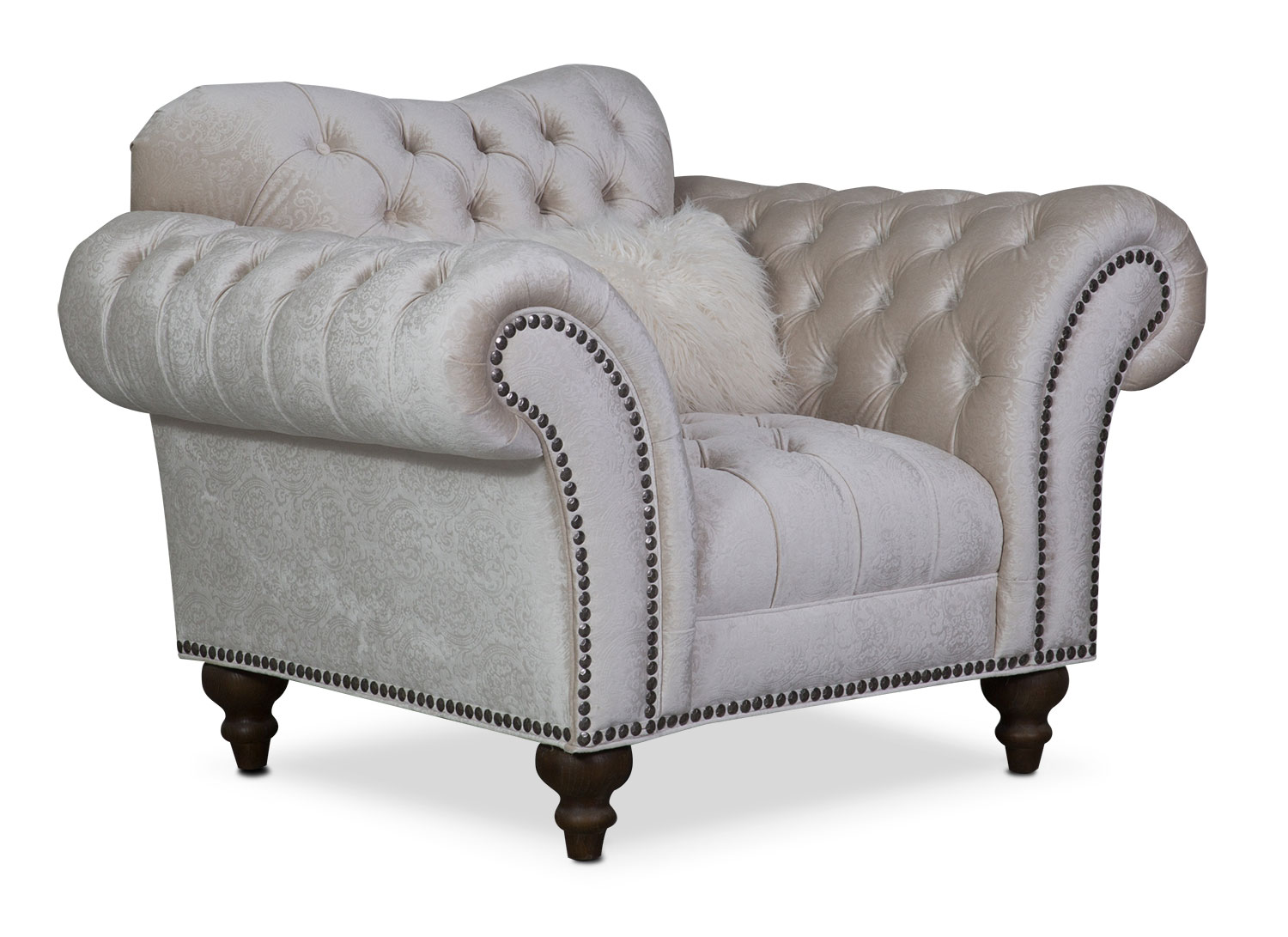Living Room Furniture - Brittney Chair - Ivory