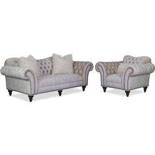 Brittney Sofa and Chair Set - Ivory