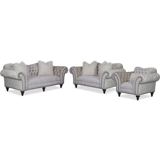 Brittney Sofa, Loveseat and Chair Set - Ivory
