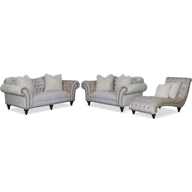 Living Room Furniture - Brittney Sofa, Loveseat and Chaise Set - Ivory