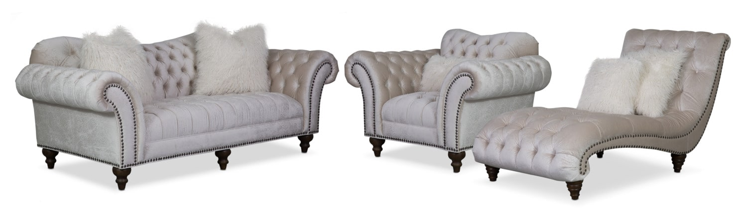 Brittney Sofa, Chaise and Chair Set - Ivory