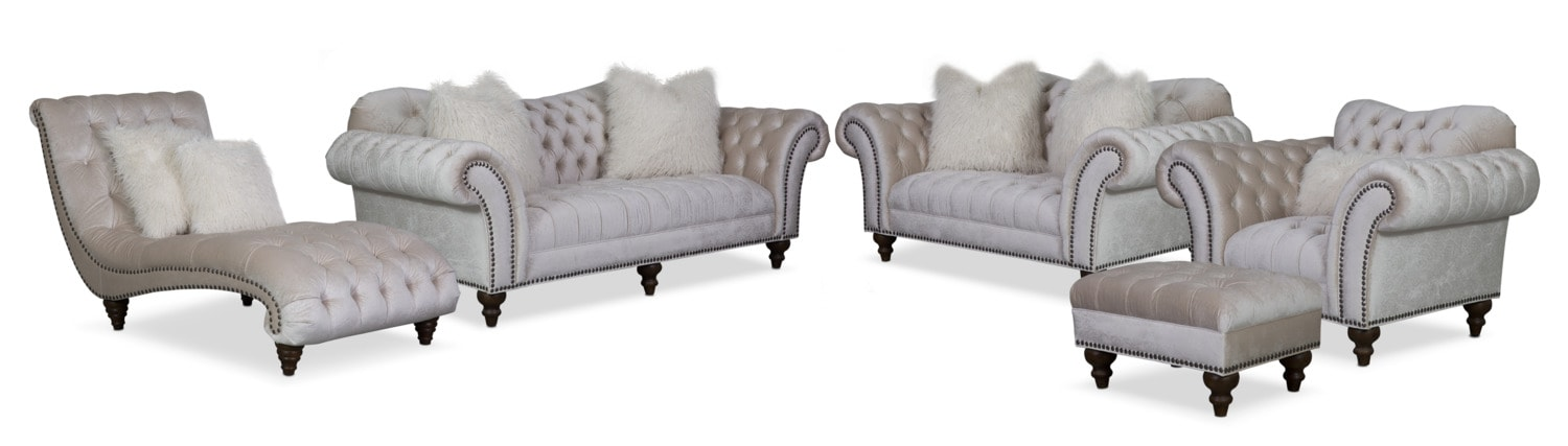The Brittney Living Room Collection - Ivory