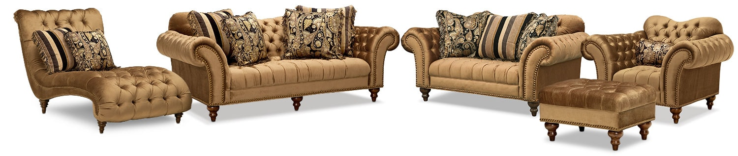 The Brittney Living Room Collection - Bronze | Value City ...