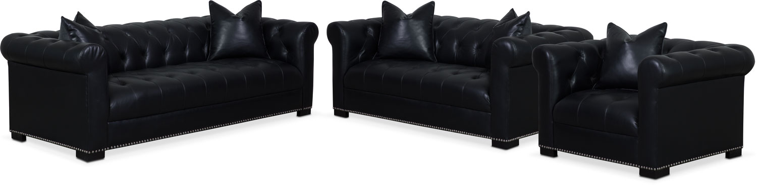 Couture Sofa, Apartment Sofa and Chair Set - Black