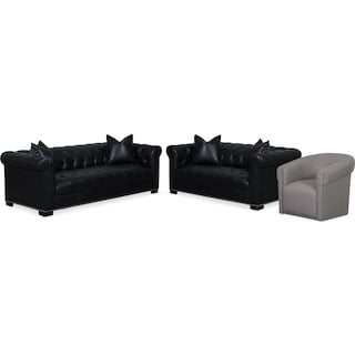 Couture Sofa, Apartment Sofa and Swivel Chair Set - Black