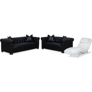 Couture Sofa, Apartment Sofa and Chaise Set - Black and White