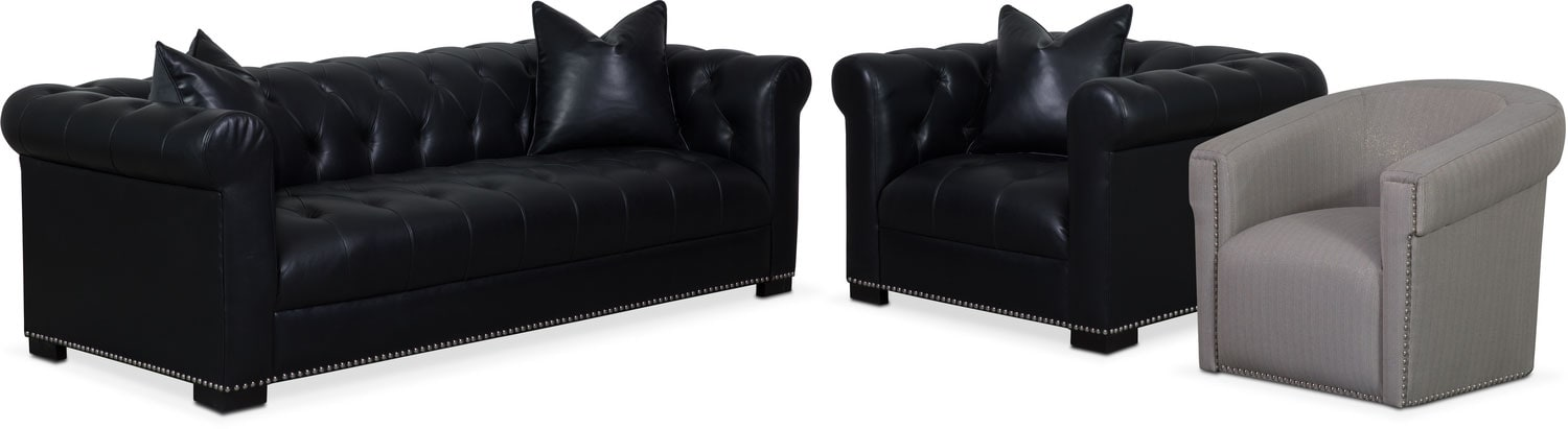 Couture Sofa, Chair and Swivel Chair Set - Black