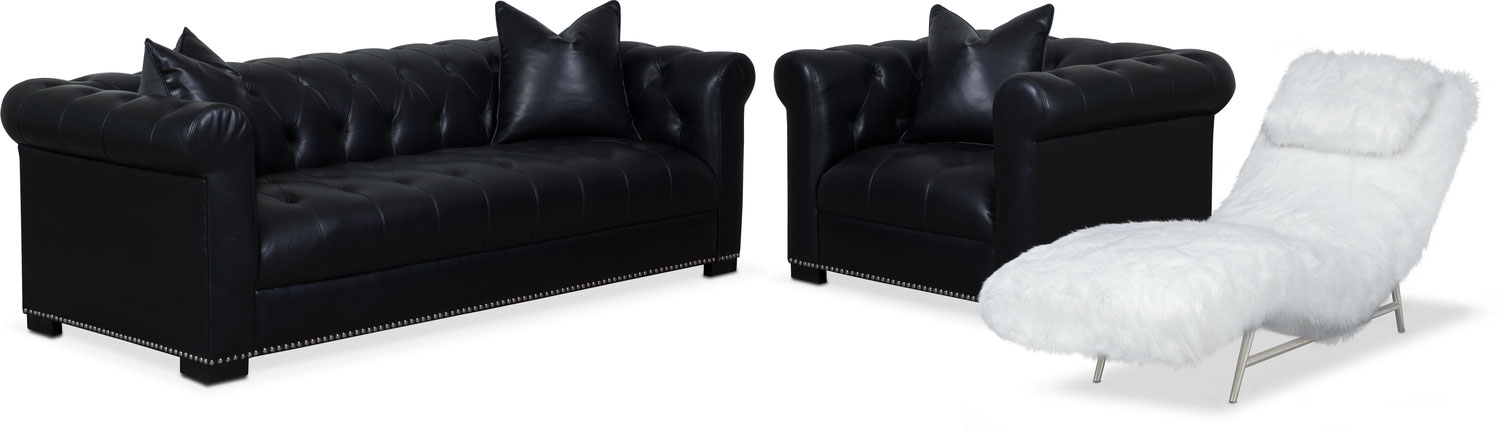 Couture Sofa, Chaise and Chair Set - Black and White
