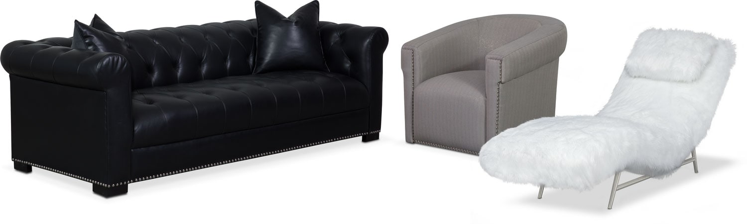 Couture Sofa, Chaise and Swivel Chair Set - Black and White