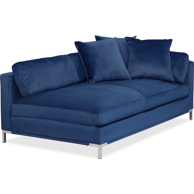 Living Room Furniture - Moda Left-Facing Chaise - Blue