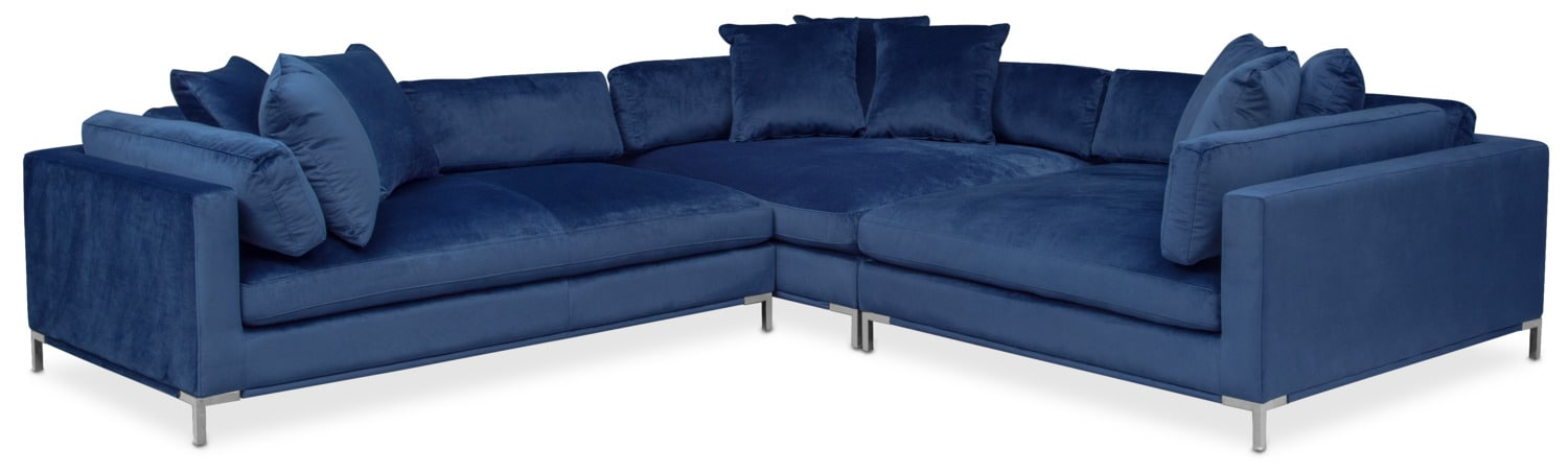 Moda 3 Piece Sectional With Left Facing Chaise Blue