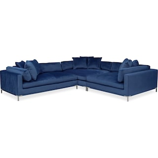 Moda 3-Piece Sectional with Left-Facing Chaise - Blue