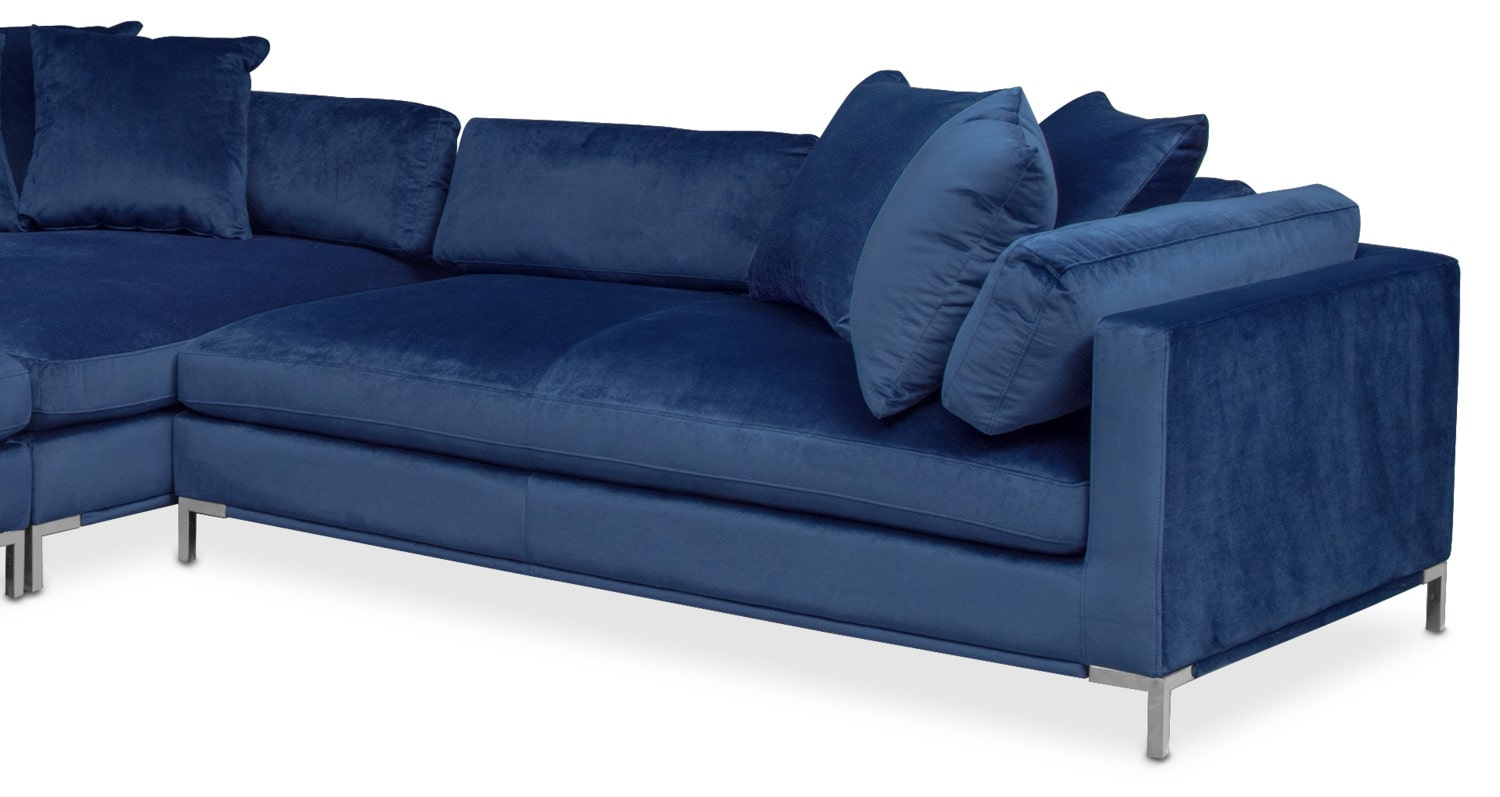 Moda 3 Piece Sectional With Right Facing Chaise Blue