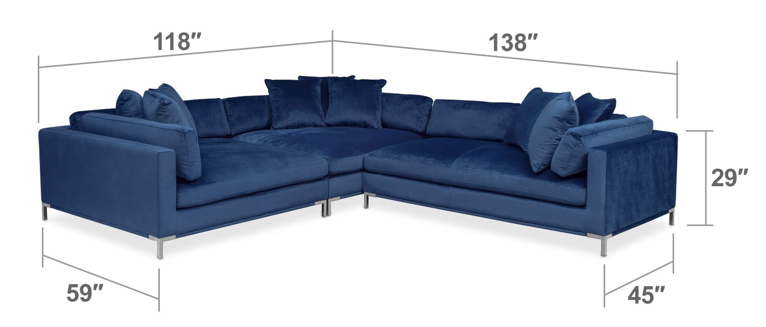 Living Room Furniture - Moda 3-Piece Sectional with Right-Facing Chaise - Blue